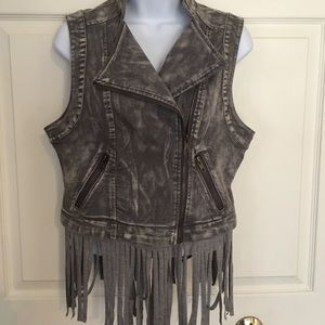 Denim vest with removable fringes